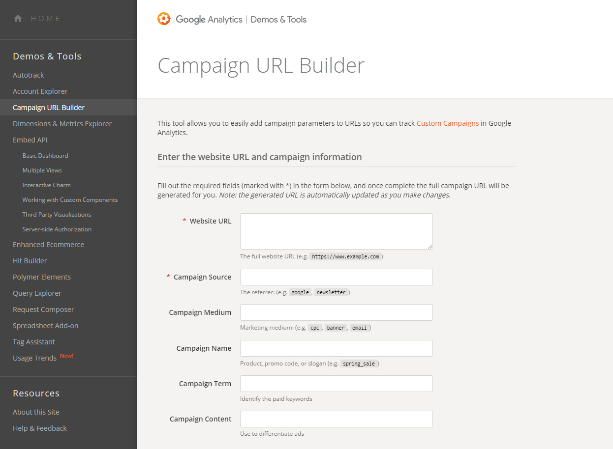 Google Analytics Campaign URL builder Image