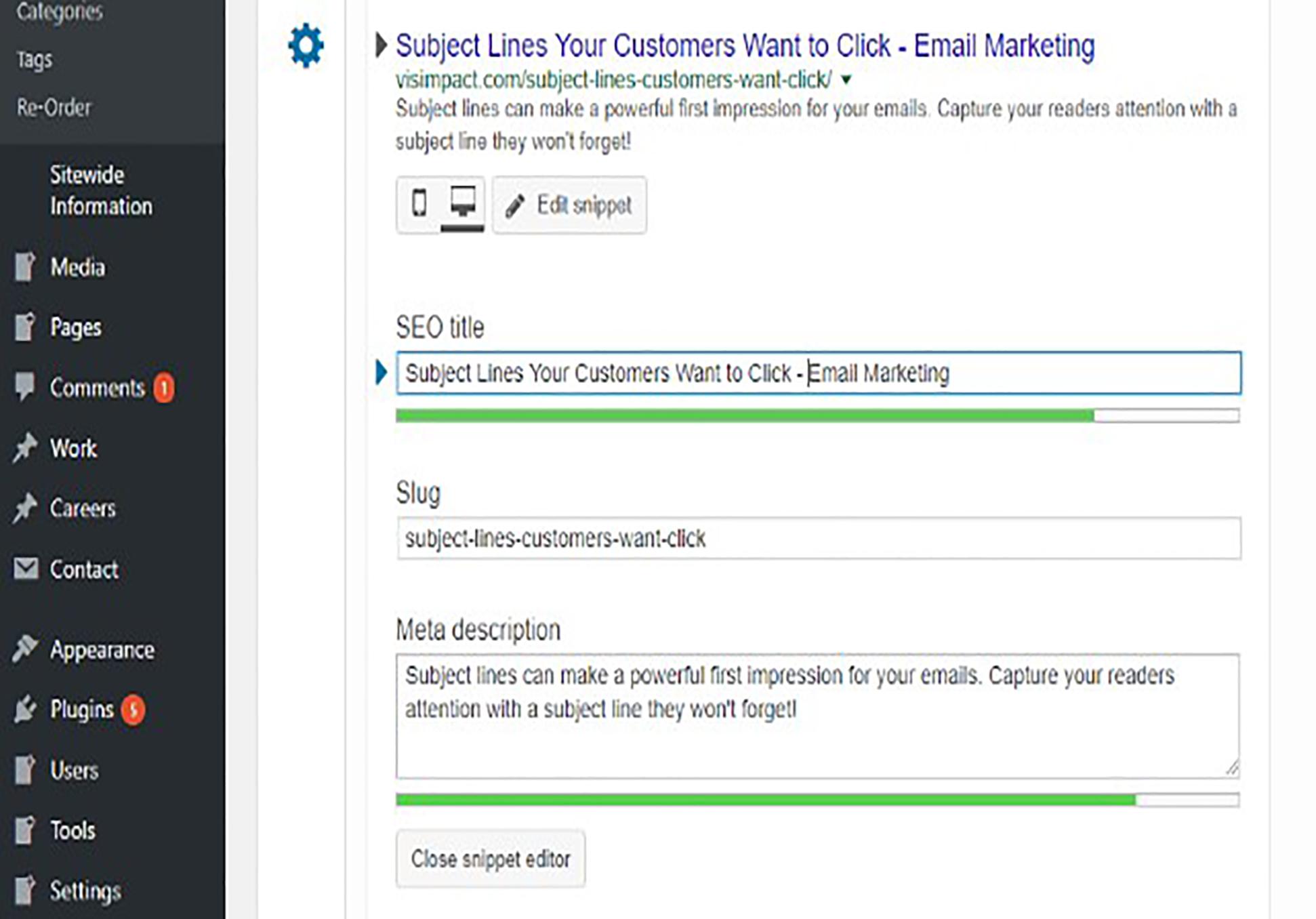 Screenshot of SEO fields on WordPress powered website