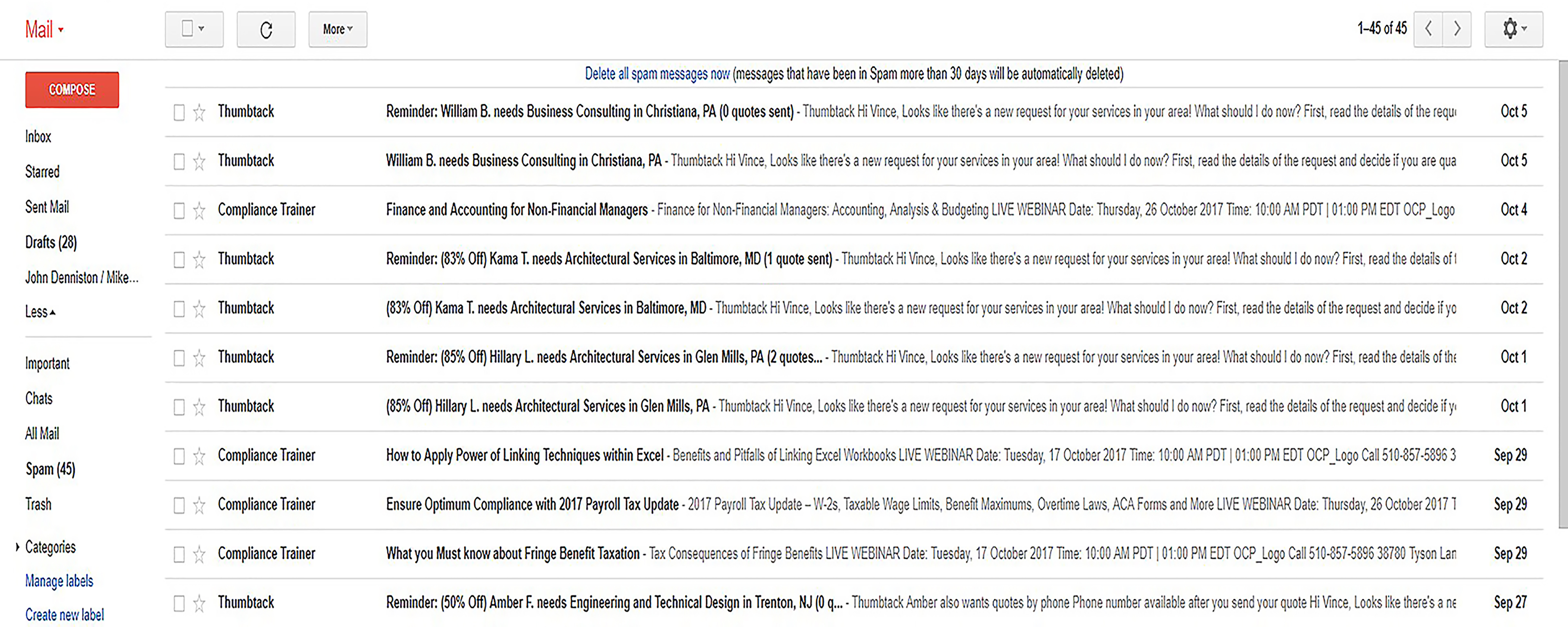 Subject Lines Gmail Screenshot